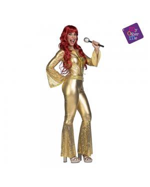 Fato Macaco Disco Dourado M/L para Carnaval