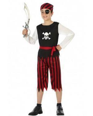 Fato Menino Pirata Vermelho e Preto Disfarces A Casa do Carnaval.pt