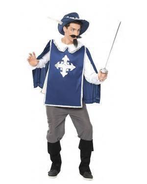 Fato Mosqueteiro Azul Tamanho S para Carnaval