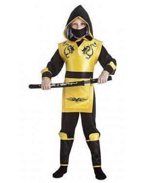 Fato Ninja Amarelo 5-6 Anos Disfarces A Casa do Carnaval.pt