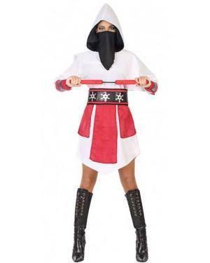 Fato Ninja Branco Mulher para Carnaval