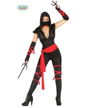 Fato ninja negro para Mulher, Loja de Fatos Carnaval, Disfarces, Artigos para Festas, Acessórios de Carnaval, Mascaras, Perucas 204 acasadocarnaval.pt