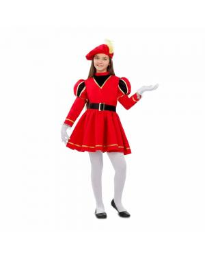Fato Pajem Vermelho Menina para Carnaval