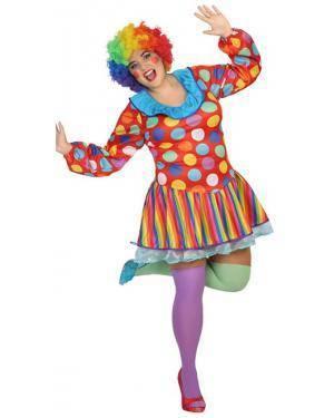 Fato Palhaça Bolinhas Mulher Adulto XXL Disfarces A Casa do Carnaval.pt