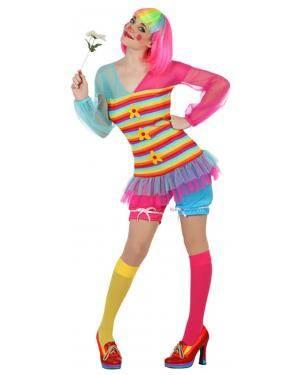 Fato Palhaça Multicolorida Adulto Disfarces A Casa do Carnaval.pt