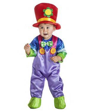 Fato Palhaço Colorido Bébe 7-12 Meses para Carnaval
