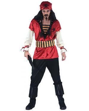 Fato Pirata do Caribe Vermelho Adulto Disfarces A Casa do Carnaval.pt