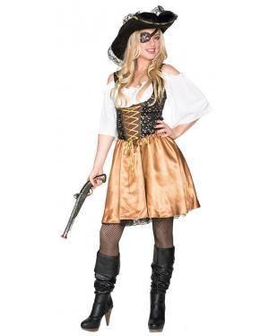 Fato Pirata Dourada Mulher Adulto M/L Disfarces A Casa do Carnaval.pt