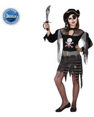 Fato Pirata Fantasma Zombie Menina Disfarces A Casa do Carnaval.pt