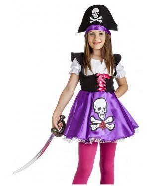 Fato Pirata Lilas Menina 7-9 Anos Disfarces A Casa do Carnaval.pt