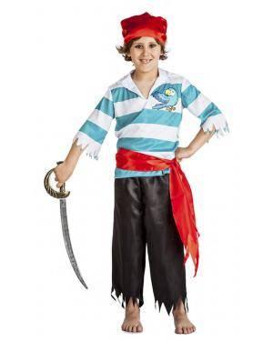 Fato Pirata Papagaio Menino 7-9 Anos Disfarces A Casa do Carnaval.pt