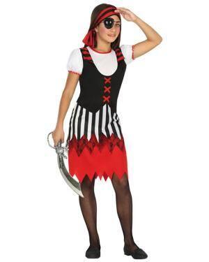 Fato Pirata Riscas Menina de 7-9 anos Disfarces A Casa do Carnaval.pt