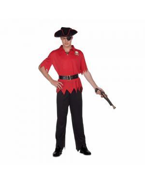 Fato Pirata Vermelho M/L para Carnaval
