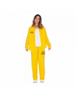 Fato Presidiária-Prisioneira Amarela M/L para Carnaval