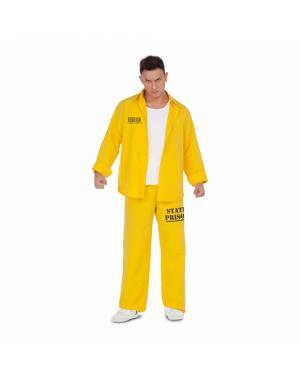 Fato Presidiário-Prisioneiro Amarelo M/L para Carnaval
