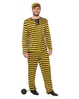 Fato Prisioneiro Amarelo Dalton Adulto Disfarces A Casa do Carnaval.pt