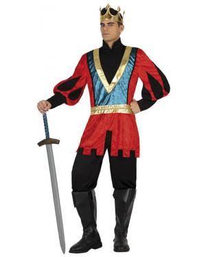 Fato Rei Medieval Vermelho Azul Adulto Disfarces A Casa do Carnaval.pt