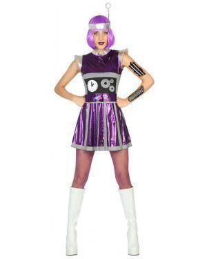 Fato Robot Lila Mulher Adulto M/L, Loja de Fatos Carnaval, Disfarces, Artigos para Festas, Acessórios de Carnaval, Mascaras, Perucas 771 acasadocarnaval.pt