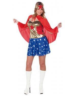 Fato Super Heroi America Mulher Adulto Disfarces A Casa do Carnaval.pt