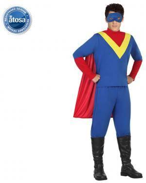 Fato Super Herói Azul Adulto Disfarces A Casa do Carnaval.pt