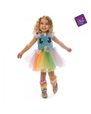 Fato Unicornio Azul Olhinhos Menina 3-4 Anos para Carnaval