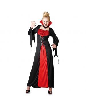 Fato Vampira Vermelha e Preta Adulto para Carnaval