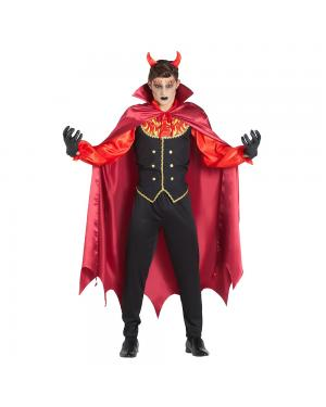 Fato Vampiro Chamas com Capa para Carnaval