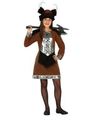 Fato Viking Marron Menina de 5-6 anos Disfarces A Casa do Carnaval.pt