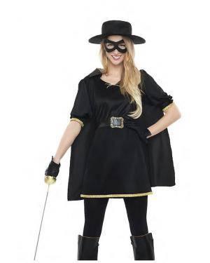 Fato Zorro Mulher Tamanho M/L para Carnaval