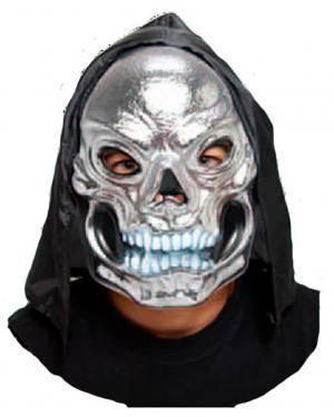 Máscara Crânio Prata com Capuz Disfarces A Casa do Carnaval.pt