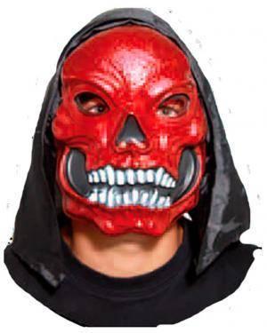 Máscara Crânio Vermelho com Capuz Disfarces A Casa do Carnaval.pt