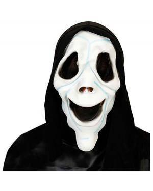 Mascara Scream Latex com Capuz, Loja de Fatos Carnaval, Disfarces, Artigos para Festas, Acessórios de Carnaval, Mascaras, Perucas 110 acasadocarnaval.pt
