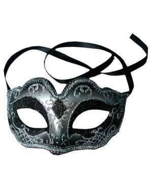 Mascarilha Prata Preta (3 Unidades) Disfarces A Casa do Carnaval.pt