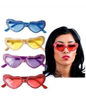 Óculos de Coração Brilhantes (2 Unidades) Disfarces A Casa do Carnaval.pt