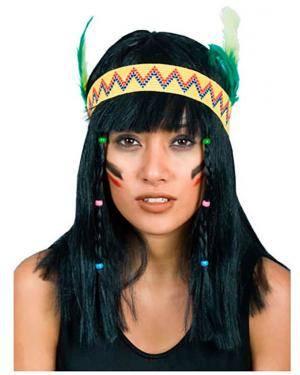 Peruca India com Fita e Pena, Loja de Fatos Carnaval, Disfarces, Artigos para Festas, Acessórios de Carnaval, Mascaras, Perucas 713 acasadocarnaval.pt