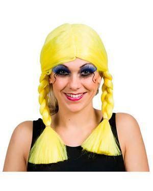 Peruca Tranças Amarelo, Loja de Fatos Carnaval, Disfarces, Artigos para Festas, Acessórios de Carnaval, Mascaras, Perucas, Chapeus 526 acasadocarnaval.pt