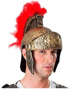 Capacete de Guerreiro Romano com Penas Vermelhas