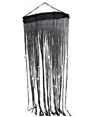 Cortina Preta com Crânios 70X180Cm