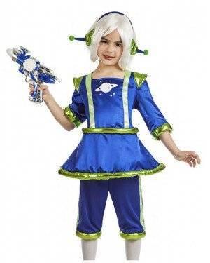 Fato Alien Azul Menina 7-9 Anos para Carnaval