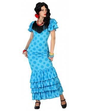 Fato Bailarina Flamenco Espanhola Azul Adulto