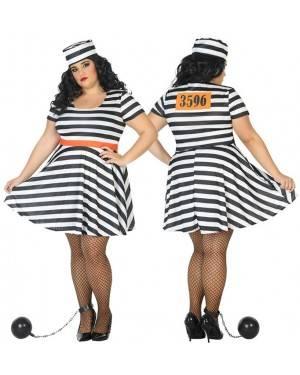 Fato de Presidiária Adulta XXL para Carnaval o Halloween | A Casa do Carnaval.pt