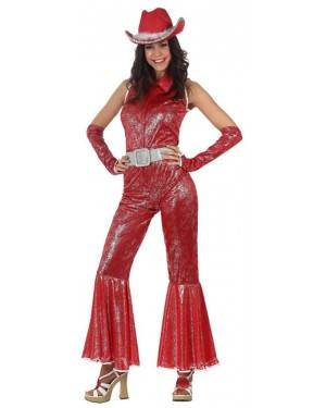 Fato Disco Woman Brilho Vermelho Adulto