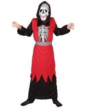Fato Esqueleto Vermelho Criança
