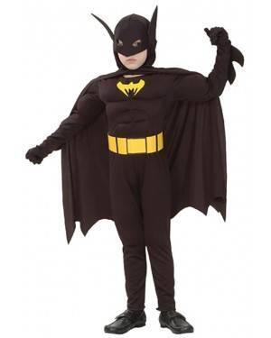 Fato Herói Morcego Musculoso Menino