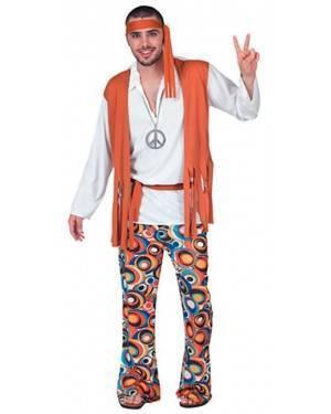 Fato Hippie Psicodélico Homem Adulto