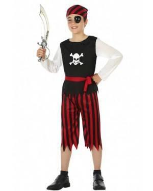 Fato Menino Pirata Vermelho e Preto