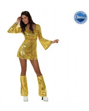 Fato Mulher Disco Dourado Adulto