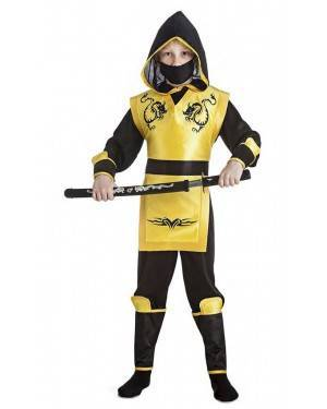 Fato Ninja Amarelo 10-12 Anos para Carnaval