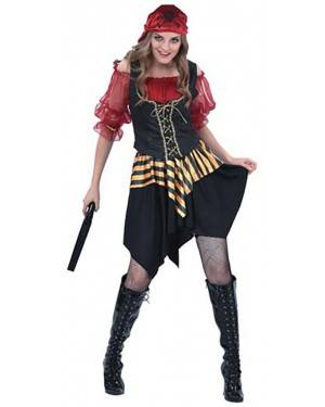 Fato Pirata do Caribe Vermelha Adulto