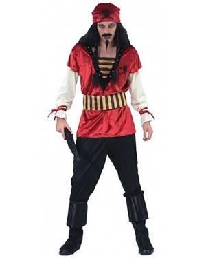 Fato Pirata do Caribe Vermelho Adulto